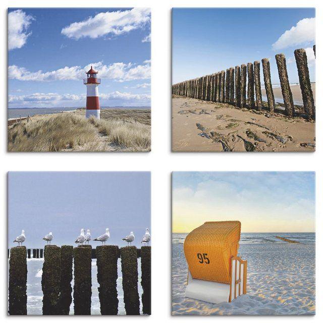 Strandkorb 3 Bilder auf auf Leinwand Wandbild Poster Kunstdruck Meer Strand