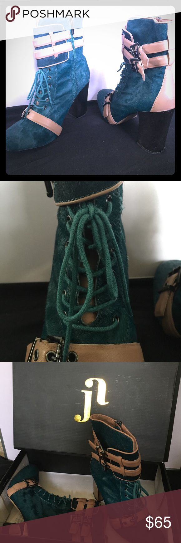"""Teal Leather and Calf Hair Bootie 4"""" Metalic Heel 100% Leather Teal Calf Hair with Beige Leather Trim June by June Ambrose HSN Shoes Ankle Boots & Booties"""