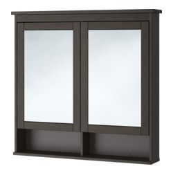 """IKEA - HEMNES, Mirror cabinet with 2 doors, black-brown stain, 40 1/2x6 1/4x38 5/8 """", , The adjustable shelf is extra heat- and impact-resistant and has a high load-bearing capacity since it is made of tempered glass.The mirror comes with safety film on the back, which reduces the risk of injury if the glass is broken."""