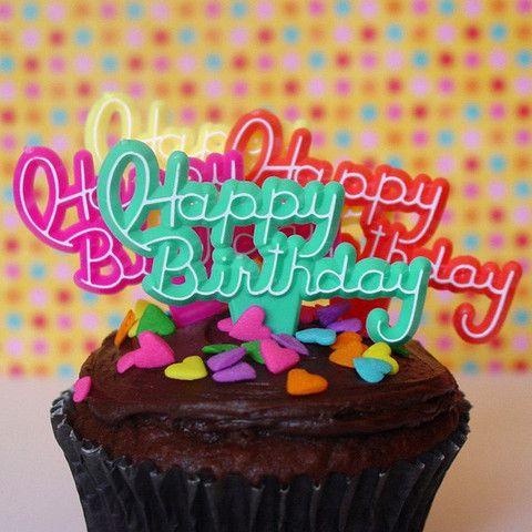 Happy Birthday cupcake picks!   #retro #vintage #kitchy