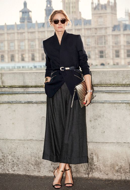 Olivia's sophisticated styling...in a belted blazer and culottes. #OliviaPalermo #LFW