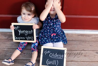 Sibling Baby Announcement Chalkboard Signs Cute Sisters! Yuma Arizona Family Photographer Ernest Villegas Photography