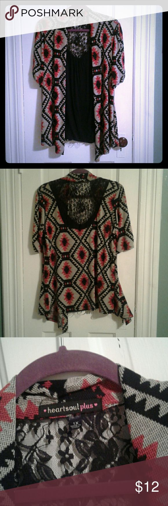 Attached cardigan shirt Tribal print cardigan attached to a black tank top that has a lace back. HeartSoul Tops Tees - Short Sleeve