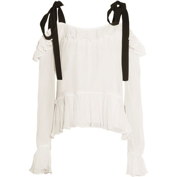 Cinq a Sept - Amina Ruffled Cold-shoulder Silk-chiffon Blouse ($173) ❤ liked on Polyvore featuring tops, blouses, ivory, white ruffle top, ruffle top, white cold shoulder blouse, white ruffle blouse and ruffle blouse
