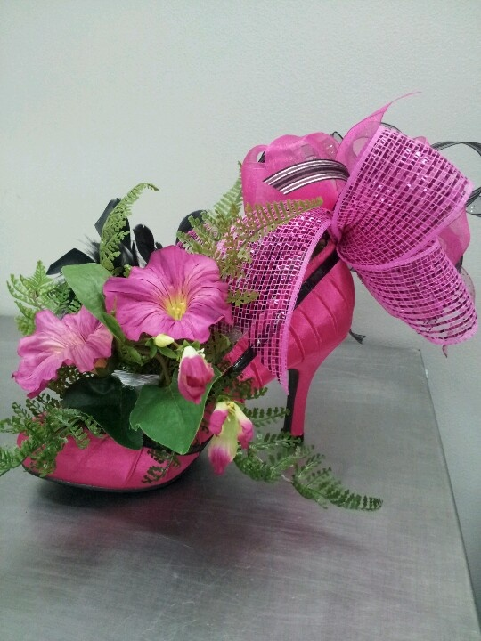High heeled shoe centerpiece jaimalee sweet ideas
