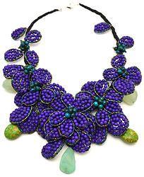Handmade Purple Hand Beaded Fower Necklace