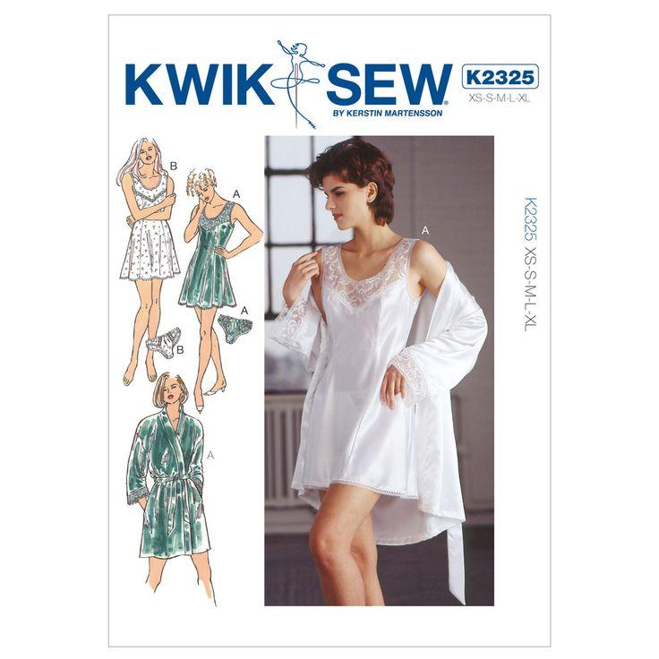 Kwik Sew K2325 Sewing Pattern Misses' Chemise Robe & Panties / Knickers Lingerie