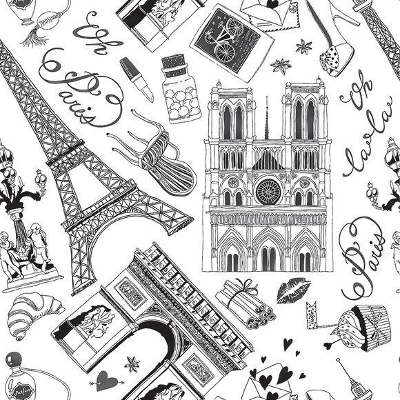 Papel de Parede Paris Preto e Branco