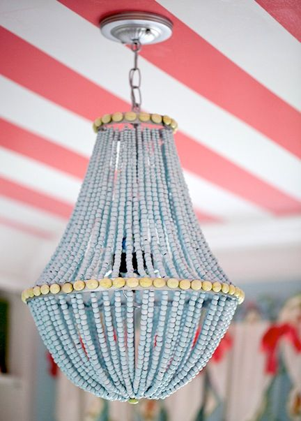 Diy Beaded Chandelier. See More. Making This...garden Basket + Spray Paint  + Round Wooden Beads + Oval