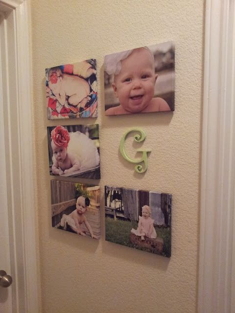Newborn, 3 months, 6 months, 9 months and 1 year pictures along with babies' initial. I love this idea!