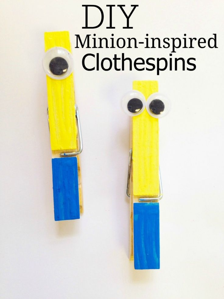 DIY Minions Clothespins - let kids make their favorite Minion then hang up their art with it! Or use for a behavior system in your classroom for teachers!