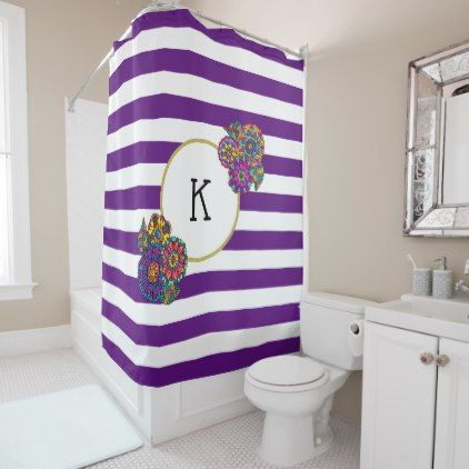 Girly Colorful Flowers Purple Striped Monogram Shower Curtain - floral style flower flowers stylish diy personalize