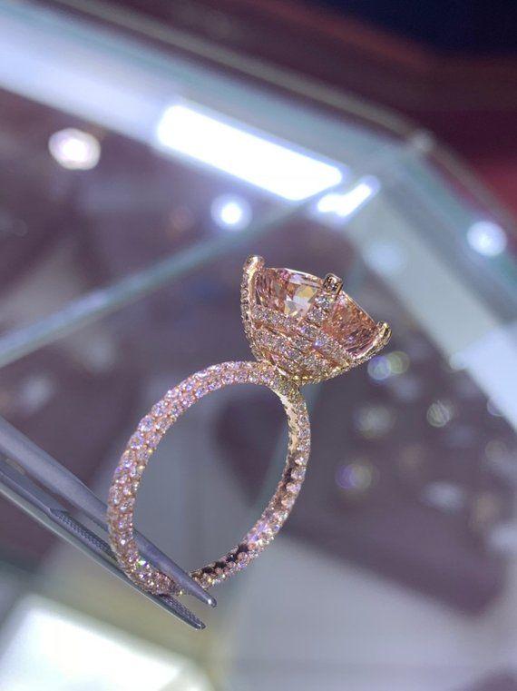 14 Karat Rose Gold Diamond Under Halo Wedding Ring With | Etsy