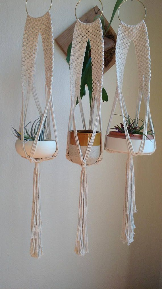 This plant hanger macrame is a great starter for a new plant lover. It does not require a ceiling hook, adds character to a gallery wall or just on its own. ITEM DETAILS -Plant hanger fits a small 4-6 size pot. -Measures approximately 37.5 long when empty and a few inches shorter when