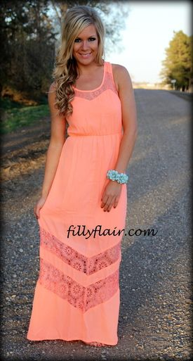 Neon coral lace dress #maxidress #neon #lace