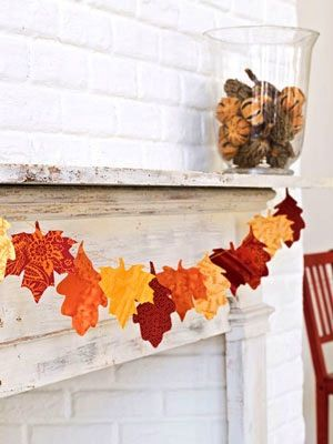 Fabric Scrap Leaf Garland