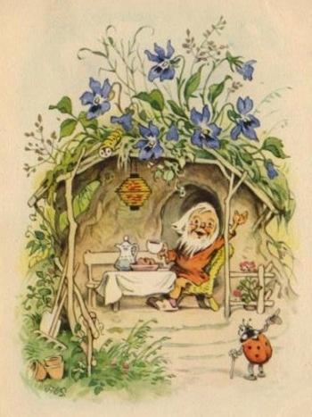 """""""Der Marienkäfer kommt zum Tee"""", Zeichnung von Friedrich Karl Baumgarten, deutscher Kinder-/Bilderbuchillustrator, Lithograf und Zeichner (* 18. August 1883 in Reudnitz; † 3. November 1966 in Leipzig)"""
