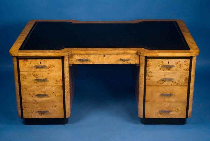 Maple Art Deco Partners Desk For Sale | Antiques.com | Classifieds