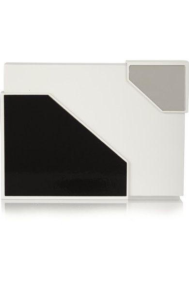 Lee Savage Broken Space silver-tone and leather box clutch  #LeeSavage