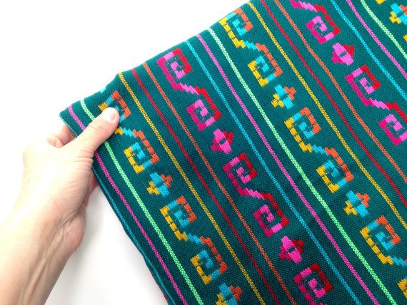 Green Mexican Fabric - Five Yards - Aztec Tribal Pattern -  Cambaya Wedding Material