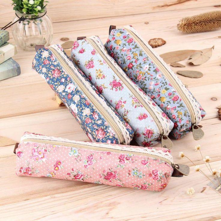 2017 Retro Flower Floral Lace Case,storage bag school supplies Cosmetic Makeup Bag Zipper Pouch Purse, estojo escolar