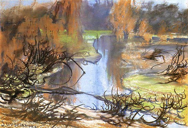 """""""Krajobraz znad Rudawy."""" (Rudawa landscape.) 1905.  Stanisław Wyspiański. Pastel."""