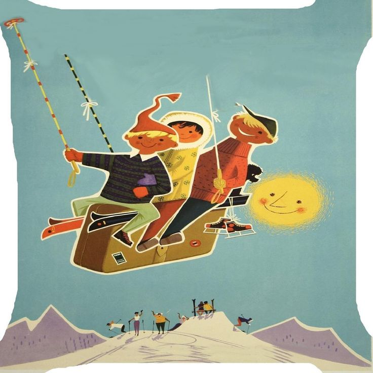 Boys ice ski cable car snow mountain resort fun 2 side pillow cushion Cover 18""