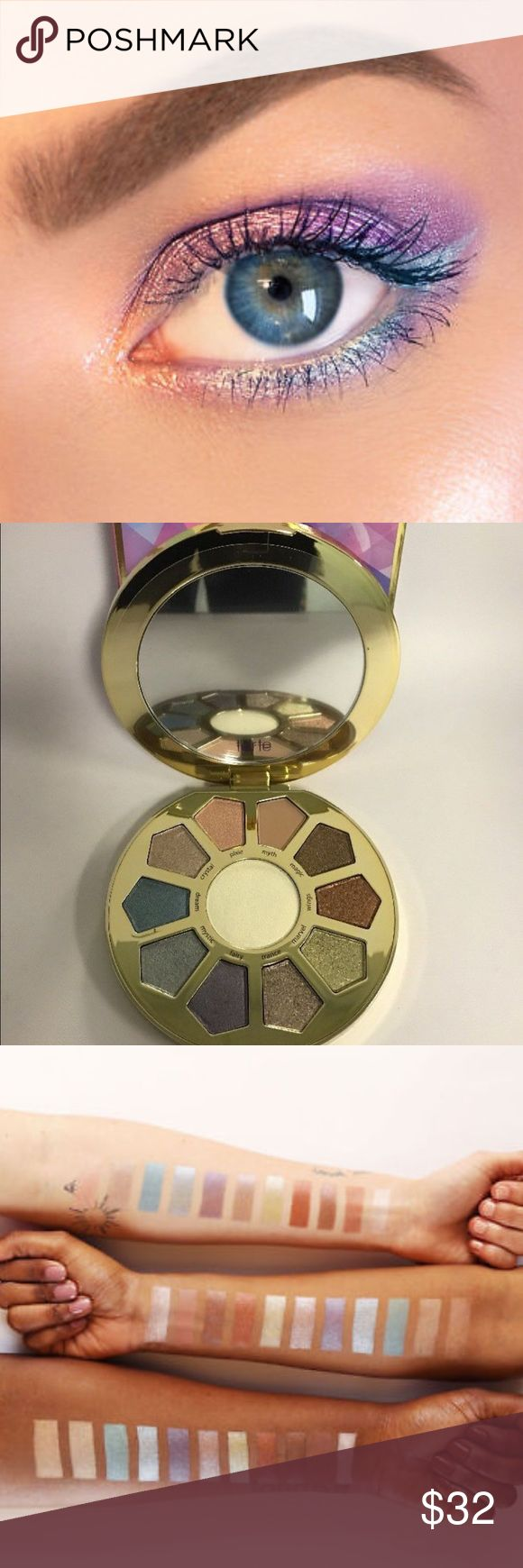 NWT Tarte Large Eyeshadow and Highlight Palette TARTE Large Eyeshadow and Highlight Palette - A kaleidoscopic, unicorn-inspired eyeshadows w:10 luminous shadows & a beautiful  eye & cheek highlighter. The shades can be layered with the matte base & the strobing eye & cheek highlighter for a multi-faceted, fairy-like glow. With Amazonian clay & mineral pigments, the silky-soft, enchanting formula blends to a fine longwearing finish with no fallout or chalkiness.  Condition: New in Box Retail…
