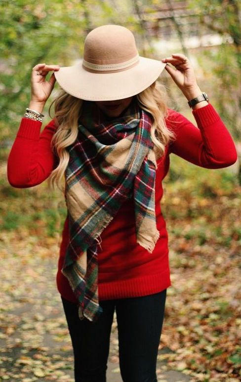 #fall #fashion / red knit + tartan scarf