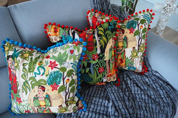 Frida Kahlo cushion cover , Handmade with stunning pom - pom trim in different colour choices , Velveteen back with invisible zip enclosure.