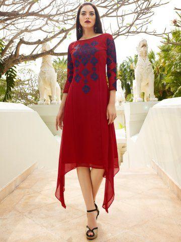 Eternal Red Georgette Embroidered Trail Cut Kurti #Kurti #TrailCut