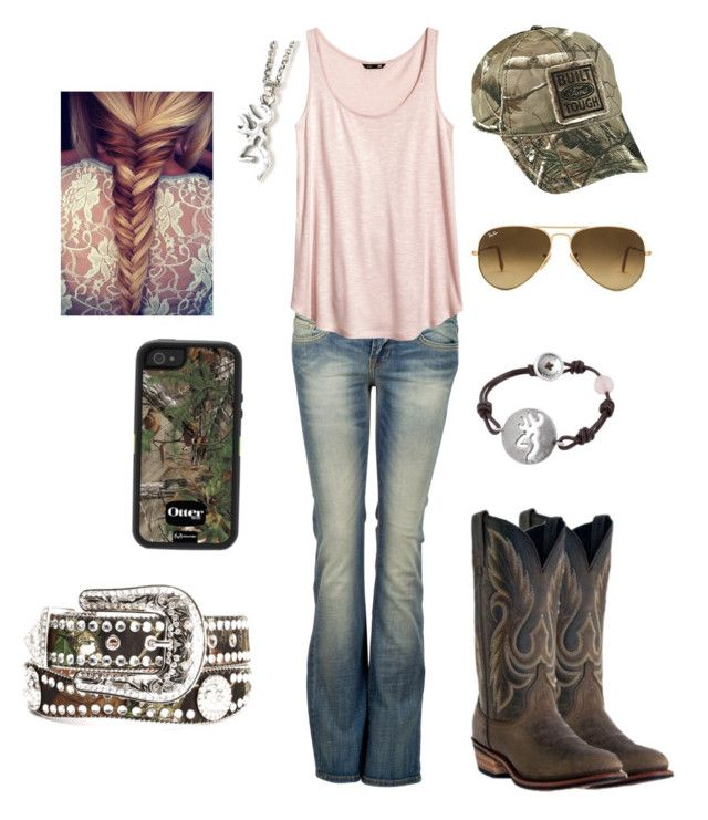 Country girl by horselover2409 on Polyvore featuring polyvore, moda, style, H&M, LTB by Little Big, Laredo, OtterBox, Nocona, Realtree, Ray-Ban, country, fashion and clothing