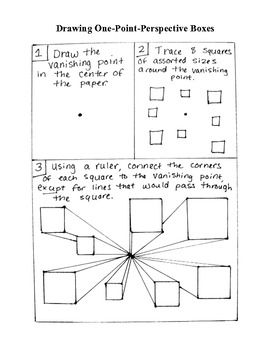 A hand-drawn handout outlining the process for drawing one-point-perspective boxes from a vanishing point. Great for grades 5-12! This handout can also serve as a great art sub plan!