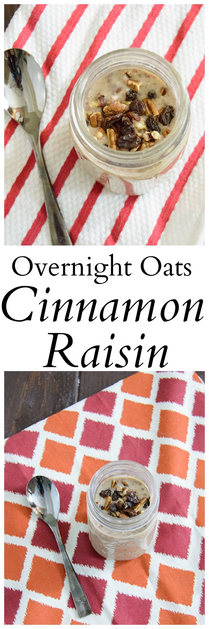 Cinnamon Raisin Overnight Oats recipe - no cooking required! Gluten-free, vegan, high protein and so easy!