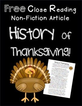 Close Read: History of Thanksgiving Freebie
