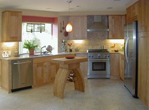 Asian Inspired Kitchen: Birch Cabinets, A Natural Stone Backsplash And  Flooring, And