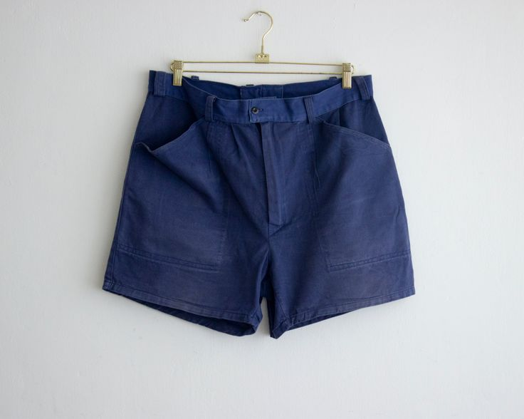 vintage navy men shorts/ 80s french workwear shorts/ work short pants with pockets size large by PaintYourWagonShop on Etsy