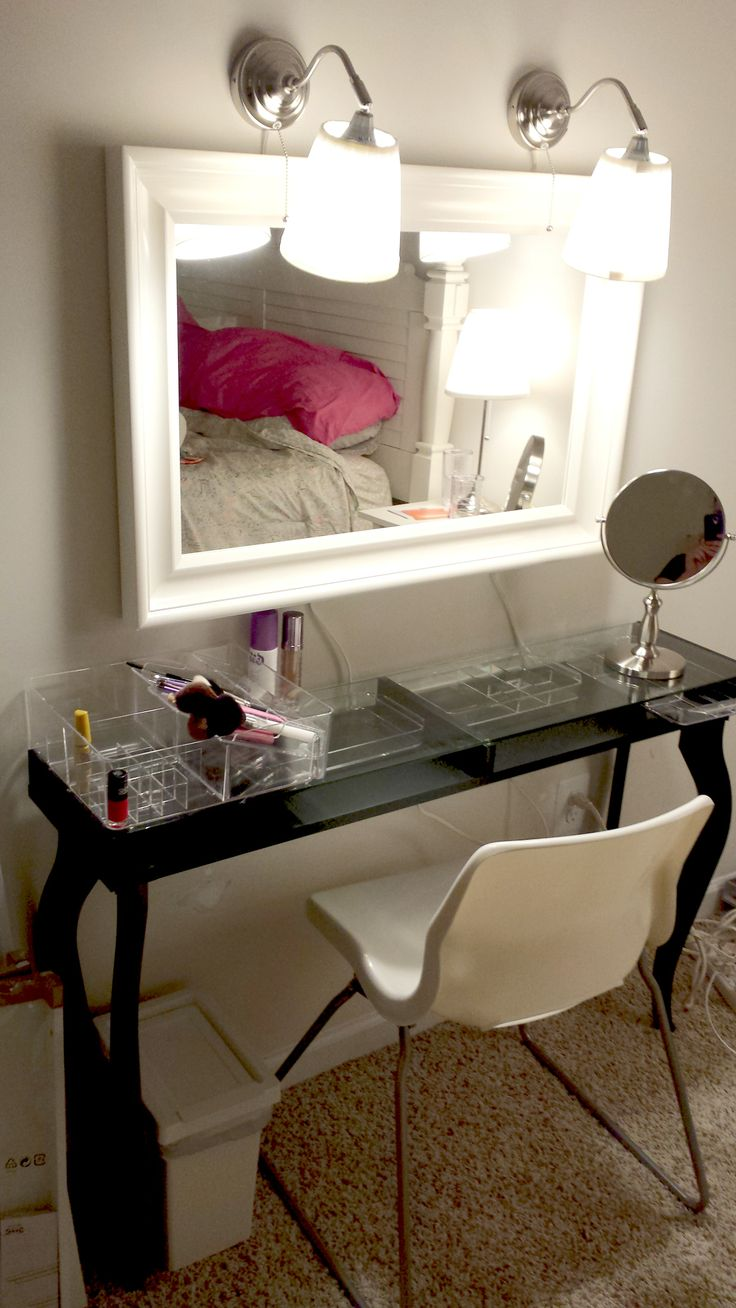 My version of the vanity made from ikea hacks hemnes for Ikea hemnes vanity table