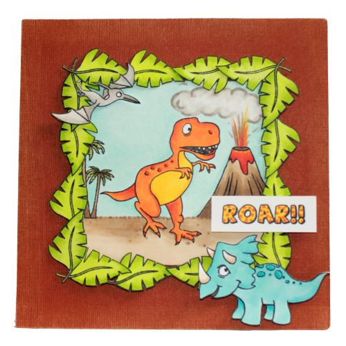 CS126D 'Dinosaurs' Clear set contains 12 stamps. Stamp set designed by Sharon Bennett. Card by Becki Mayes