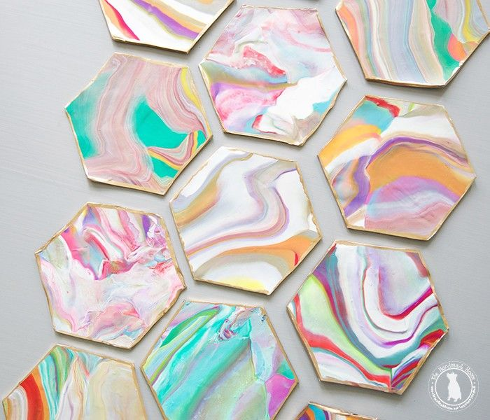 How to make marbleized coasters