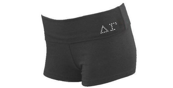 Black Fold Over Shorts with Custom Sorority Letters on Front and Sorority Name on Back . Sorority Shorts on Etsy, $17.99
