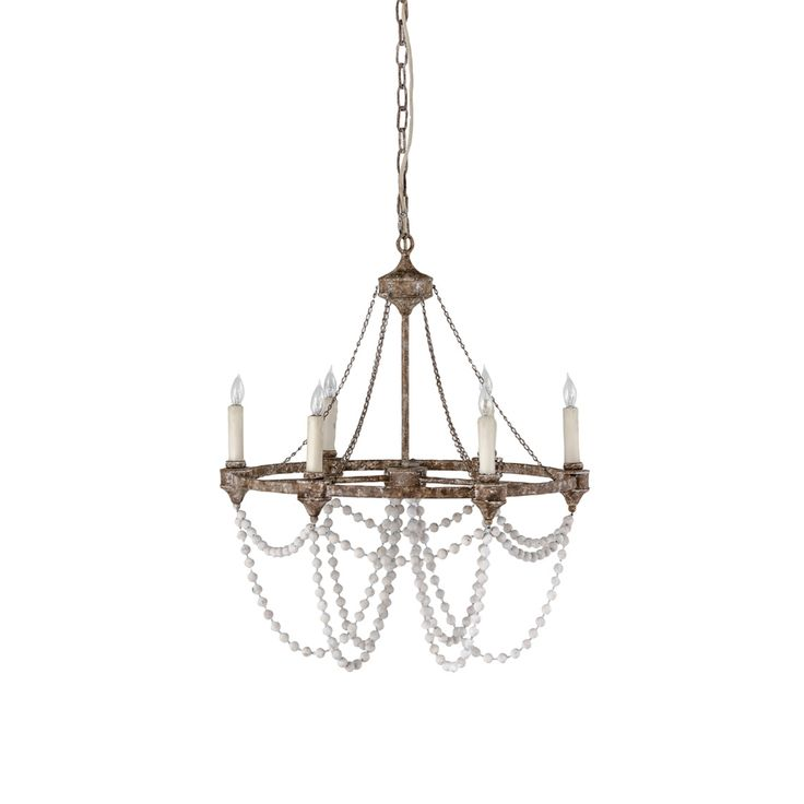 Gabby Home Nadia White Washedwood And Rust Six Light Chandelier On SALE