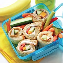 """Sandwich sushi -  Kids who have a hard time tackling a sandwich will enjoy nibbling on small pieces, and if they don't finish, they can tuck the """"sushi"""" back into their lunch kits for later – far more appealing than a half-eaten sandwich."""