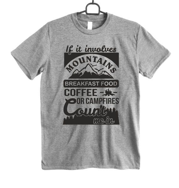 FOREST SHIRT Mountains tee Hiking shirt coffee camping by Crafteri