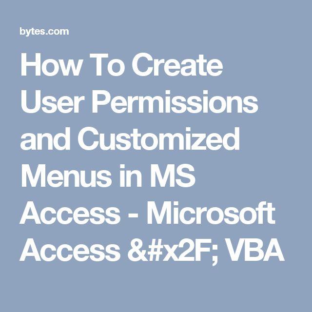 how to create a menu in access