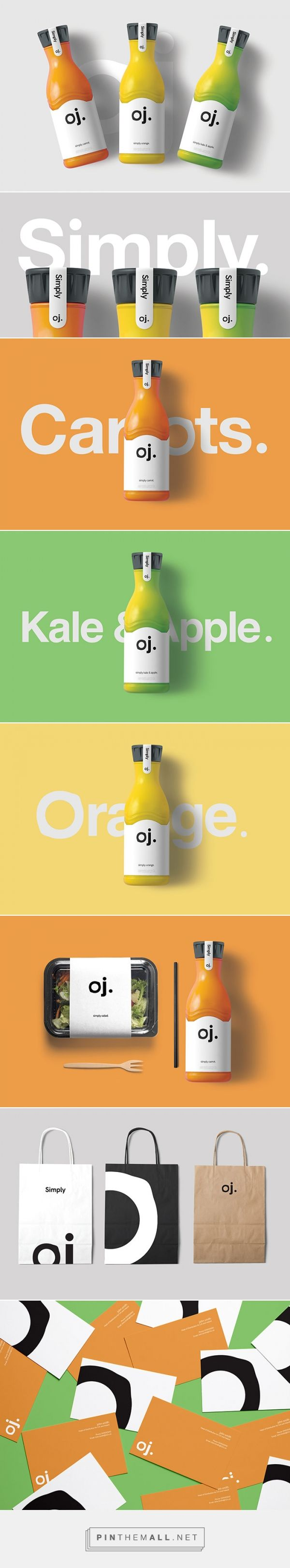 Oj. natural juice company by AA_Design Studio. Source: Daily Package Design Inspiration. Pin curated by #SFields99 #packaging #design #inspiration #ideas #branding #juices #fruit