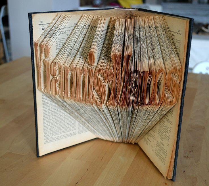Book sculpture. The Greek name Yiannis - Manos. www.journalshop.etsy.com
