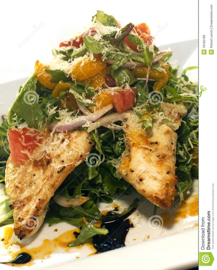 Italian style salad with grilled chicken breast filet and grated cheese. Description from dreamstime.com. I searched for this on bing.com/images