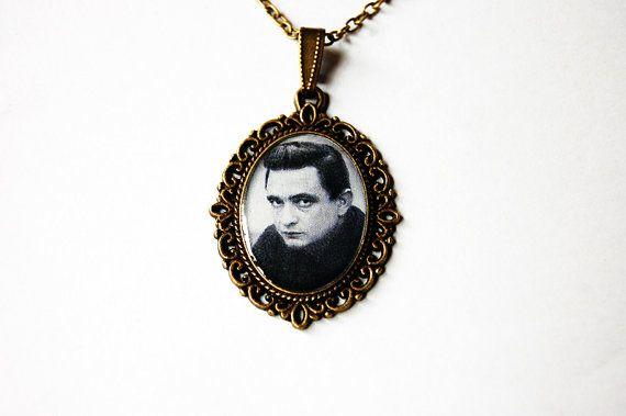Johnny Cash  Handmade Vintage Cameo Pendant by Blingstopaythebills