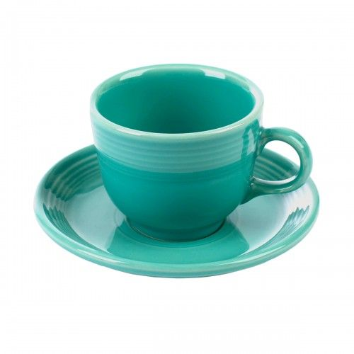 "The Mentalist Cup and Saucer. Love this! ""Drink your tea out of the exact Fiestaware cup and saucer used by Patrick Jane. The vibrant turquoise glaze will not only call to mind some of your favorite scenes from the Mentalist, but makes for a great standalone piece. Perhaps you can even con someone into making you a cup of tea, milk first, always."""